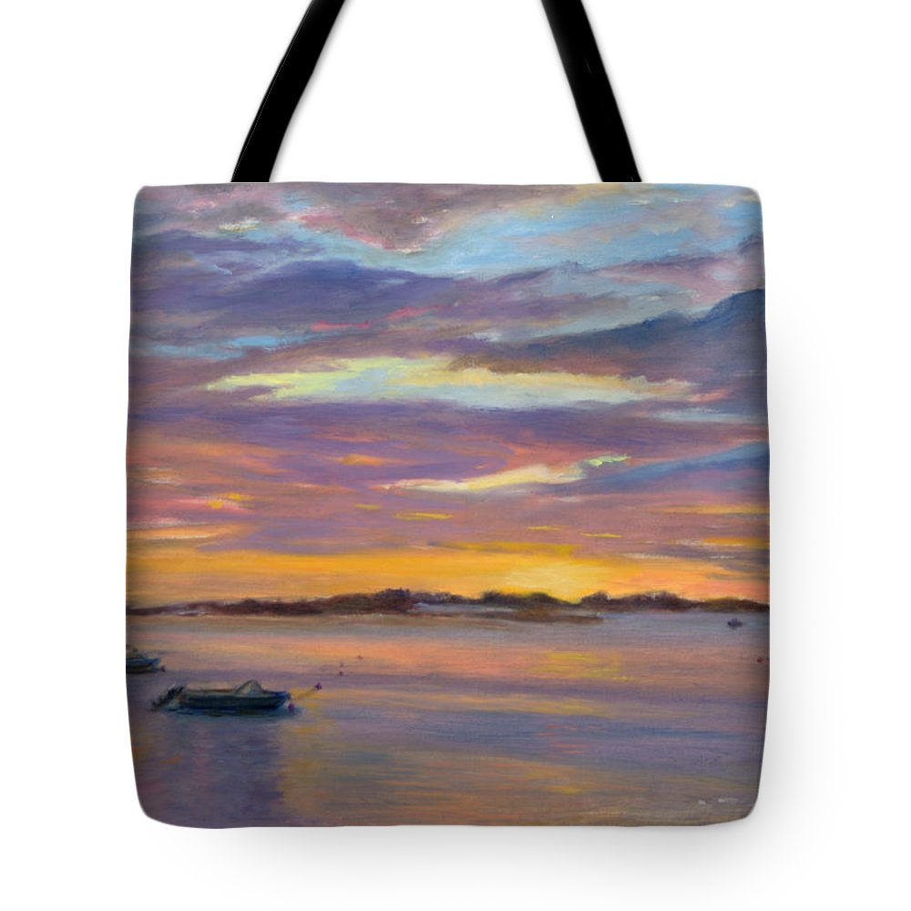 Landscape Tote Bag featuring the painting Wades Beach Sunset by Phyllis Tarlow