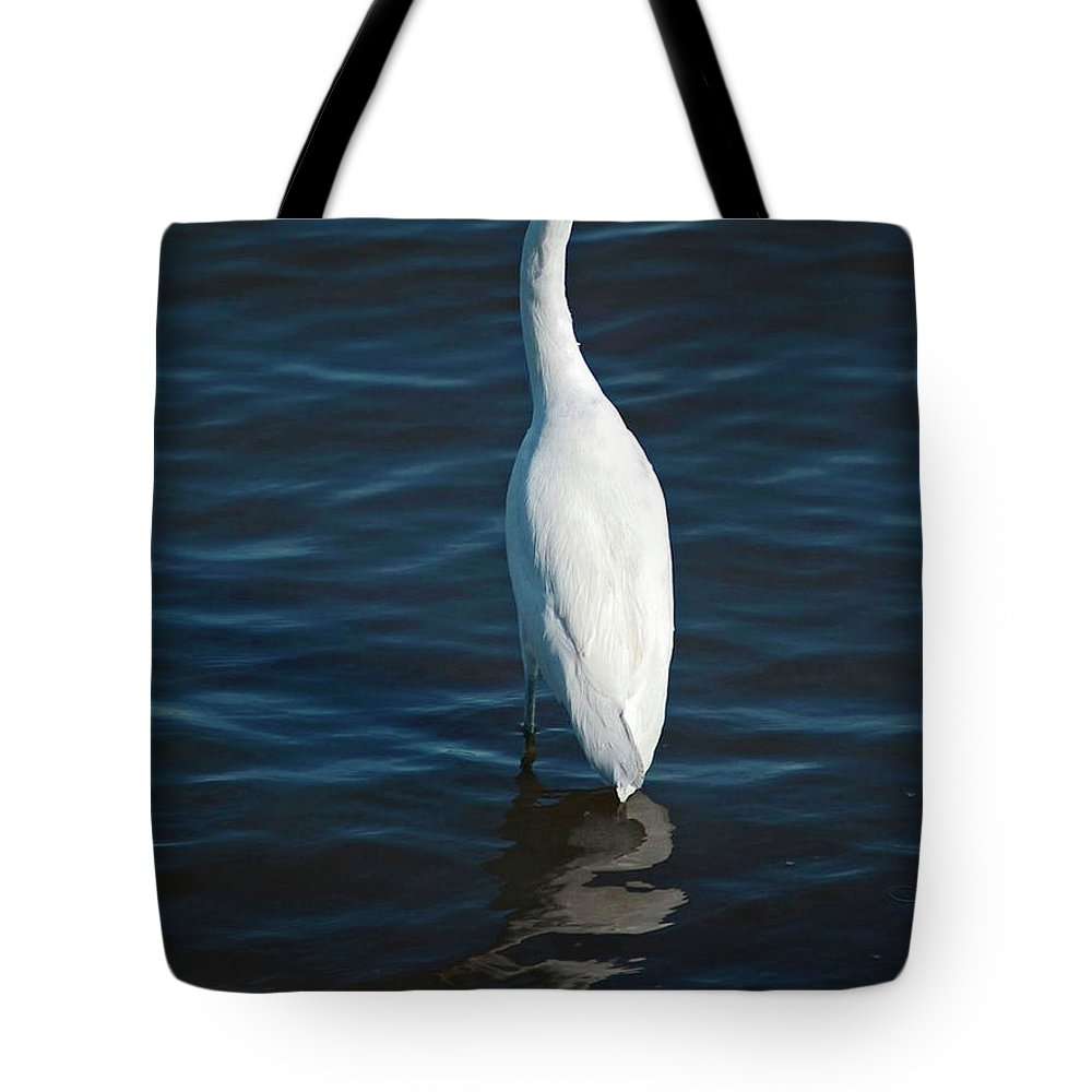 Bird Tote Bag featuring the digital art Wading Reflections by DigiArt Diaries by Vicky B Fuller