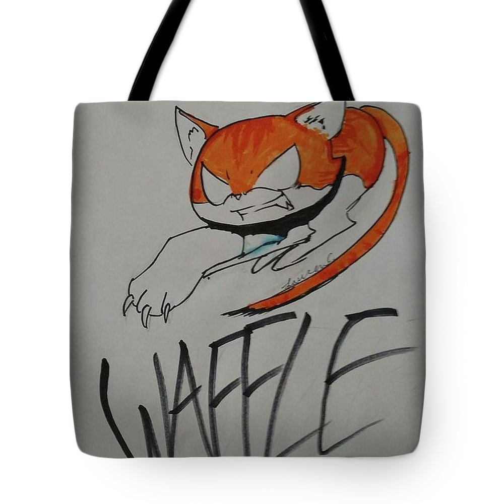 Tote Bag featuring the drawing Waffle by Lauren Champion