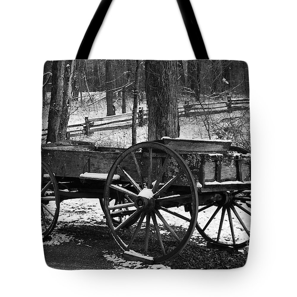 Black & White Tote Bag featuring the photograph Wagon by Eric Liller