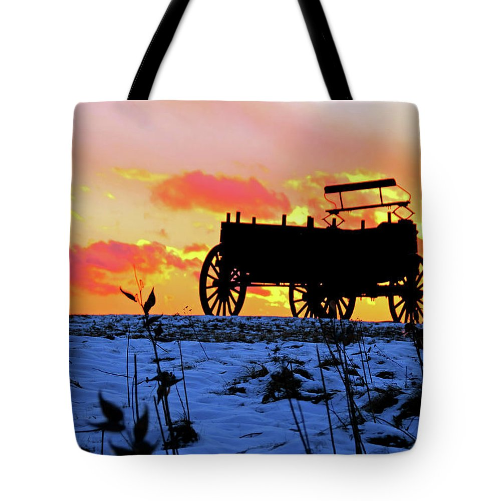 Wagon Hill Farm Durham New Hampshire Sunset Winter Snow Tote Bag featuring the photograph Wagon Hill At Sunset by Wayne Marshall Chase