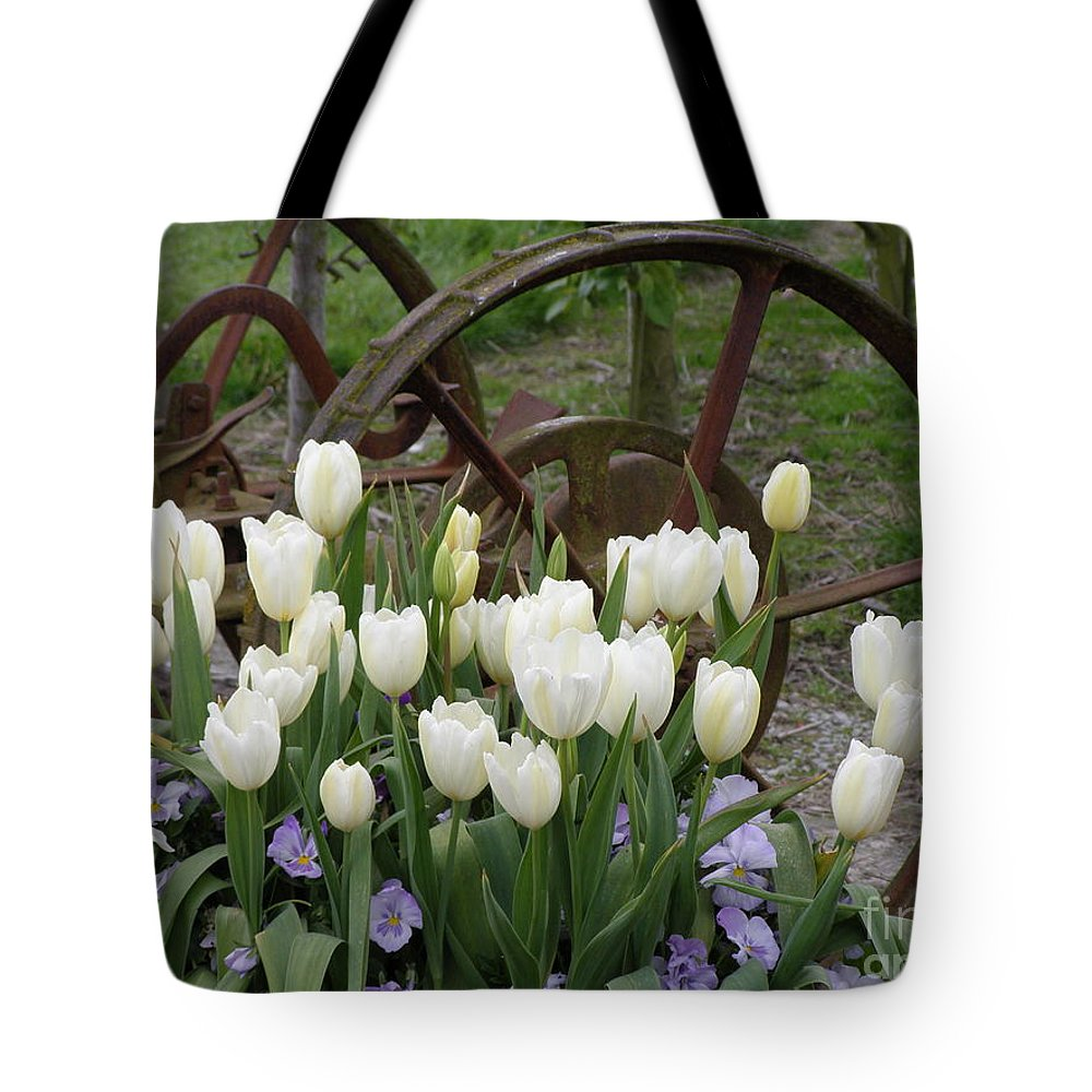 White Tote Bag featuring the photograph Wagon Wheel Tulips by Louise Magno