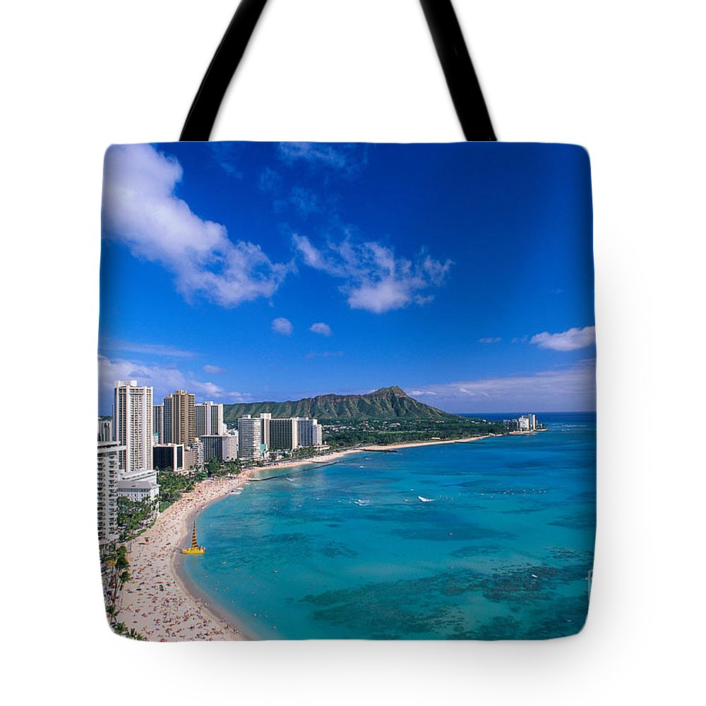 Aerial Tote Bag featuring the photograph Waikiki And Diamond Head by William Waterfall - Printscapes