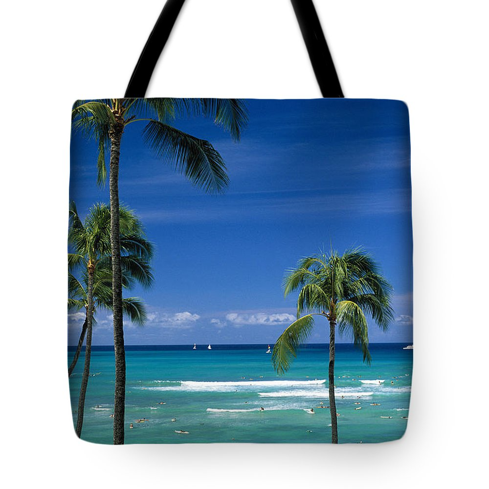 Afternoon Tote Bag featuring the photograph Waikiki Seascape by Carl Shaneff - Printscapes