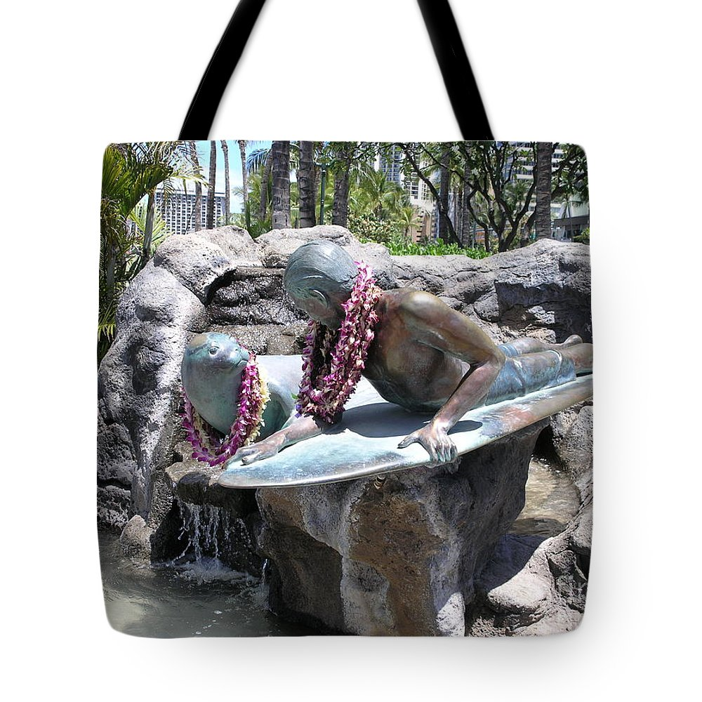 Statue Tote Bag featuring the photograph Waikiki Statue - Surfer Boy And Seal by Mary Deal