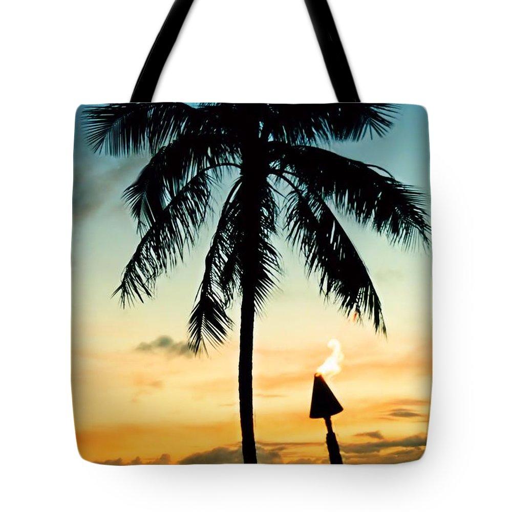 Hawaii Tote Bag featuring the photograph Waikiki Sunset by DJ Florek