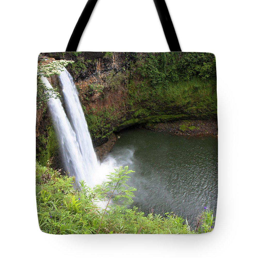 Hawaii Tote Bag featuring the photograph Wailua Falls, Kauai by Patrick Civello