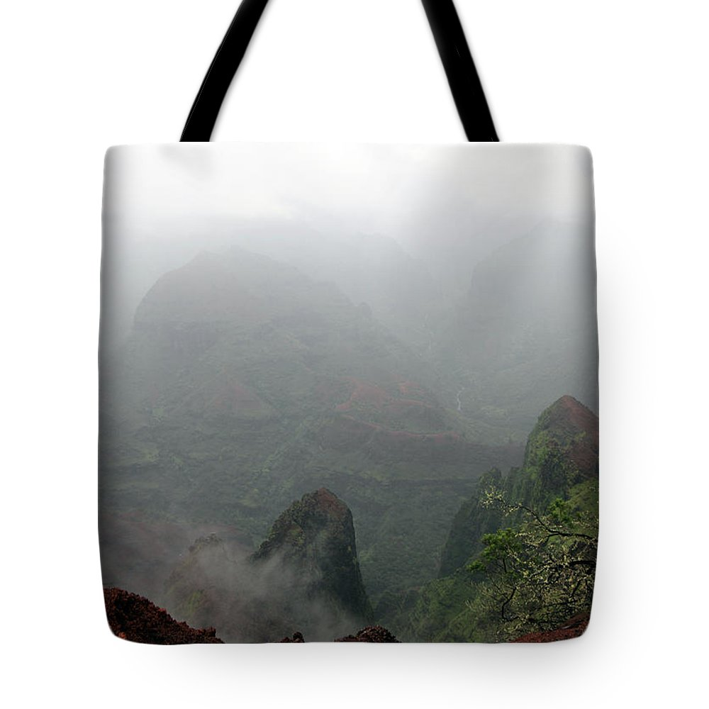 Canyon Tote Bag featuring the photograph Waimea Canyon Fog by Mary Haber