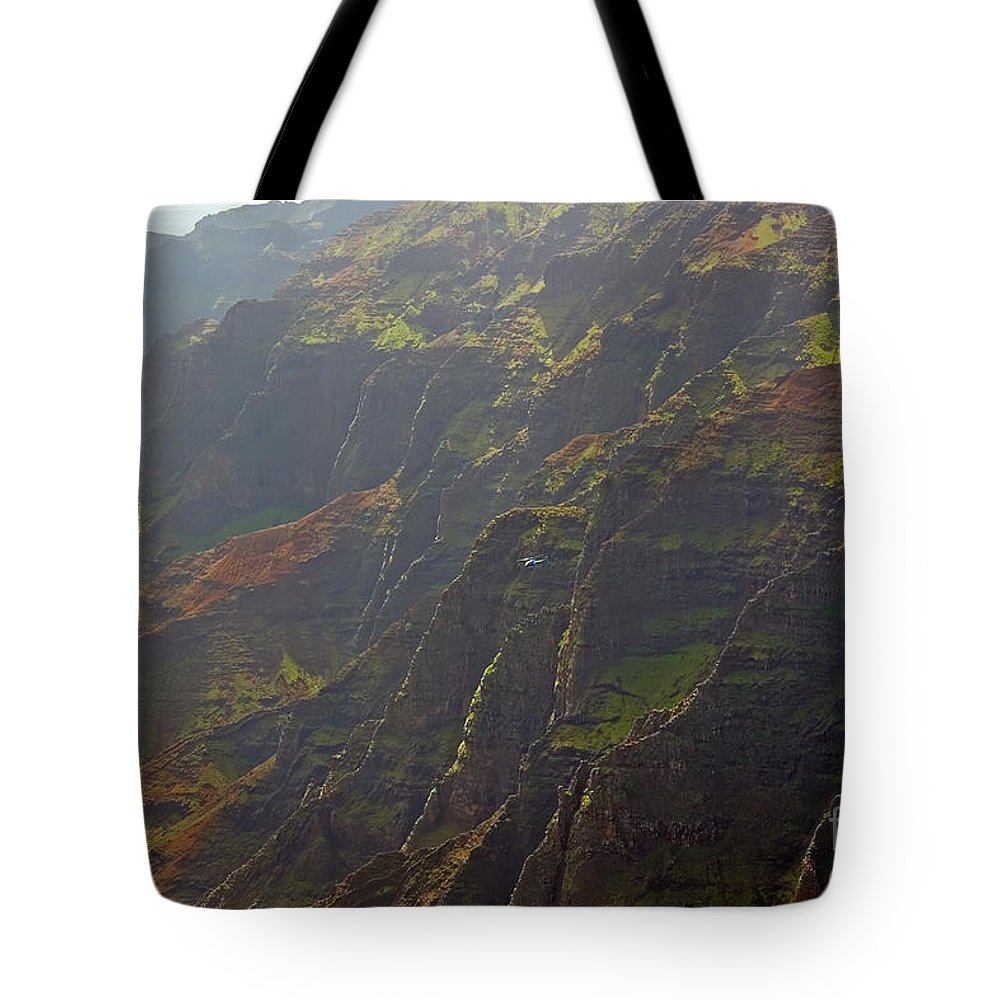 Landscape Tote Bag featuring the photograph Waimea Canyon On A Misty Day In Kauai by Louise Heusinkveld