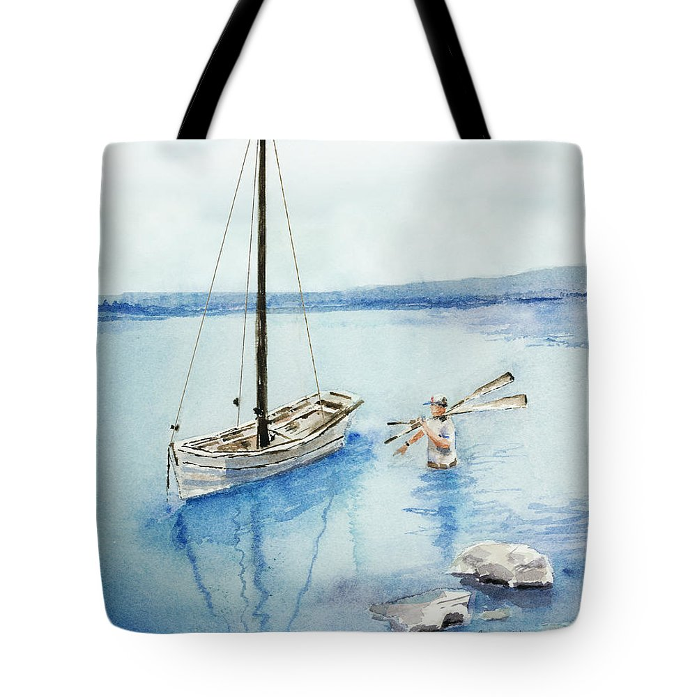 Boat Tote Bag featuring the painting Waist Deep by Arline Wagner