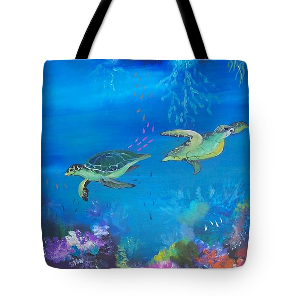 Coral Tote Bag featuring the painting Wait For Me by Lyn Olsen