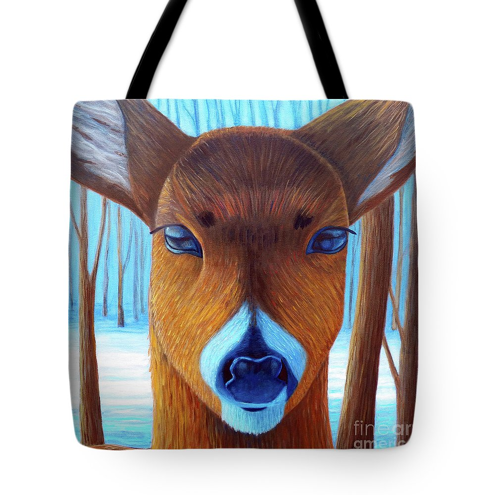 Deer Tote Bag featuring the painting Wait For The Magic by Brian Commerford