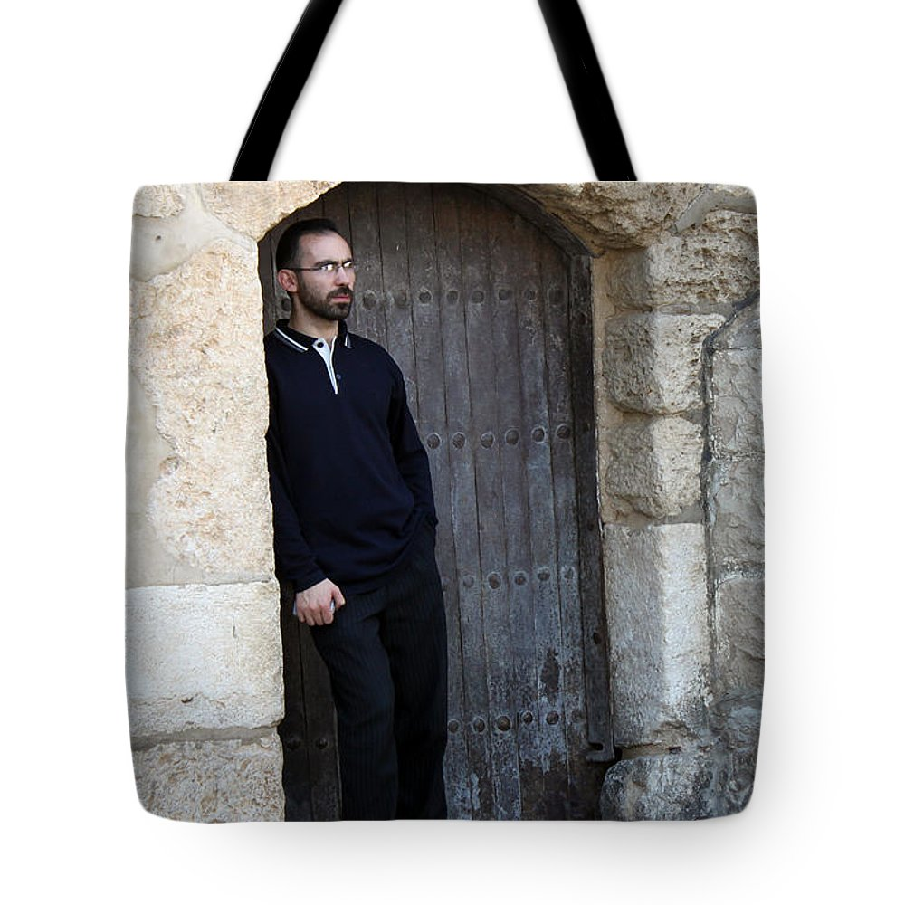 Door Tote Bag featuring the photograph Waiting At The Door by Munir Alawi