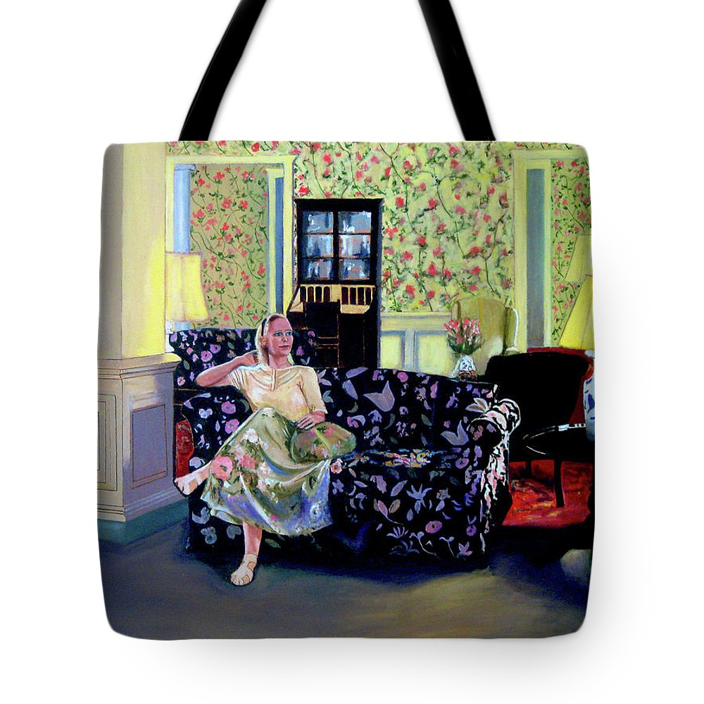 Saratoga New York Tote Bag featuring the painting Waiting At The Gideon Putnam Hotel by James Gallagher