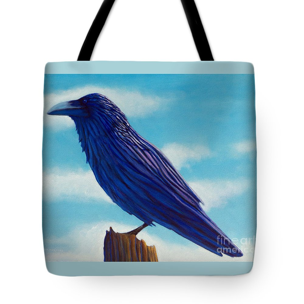 Raven Tote Bag featuring the painting Waiting by Brian Commerford