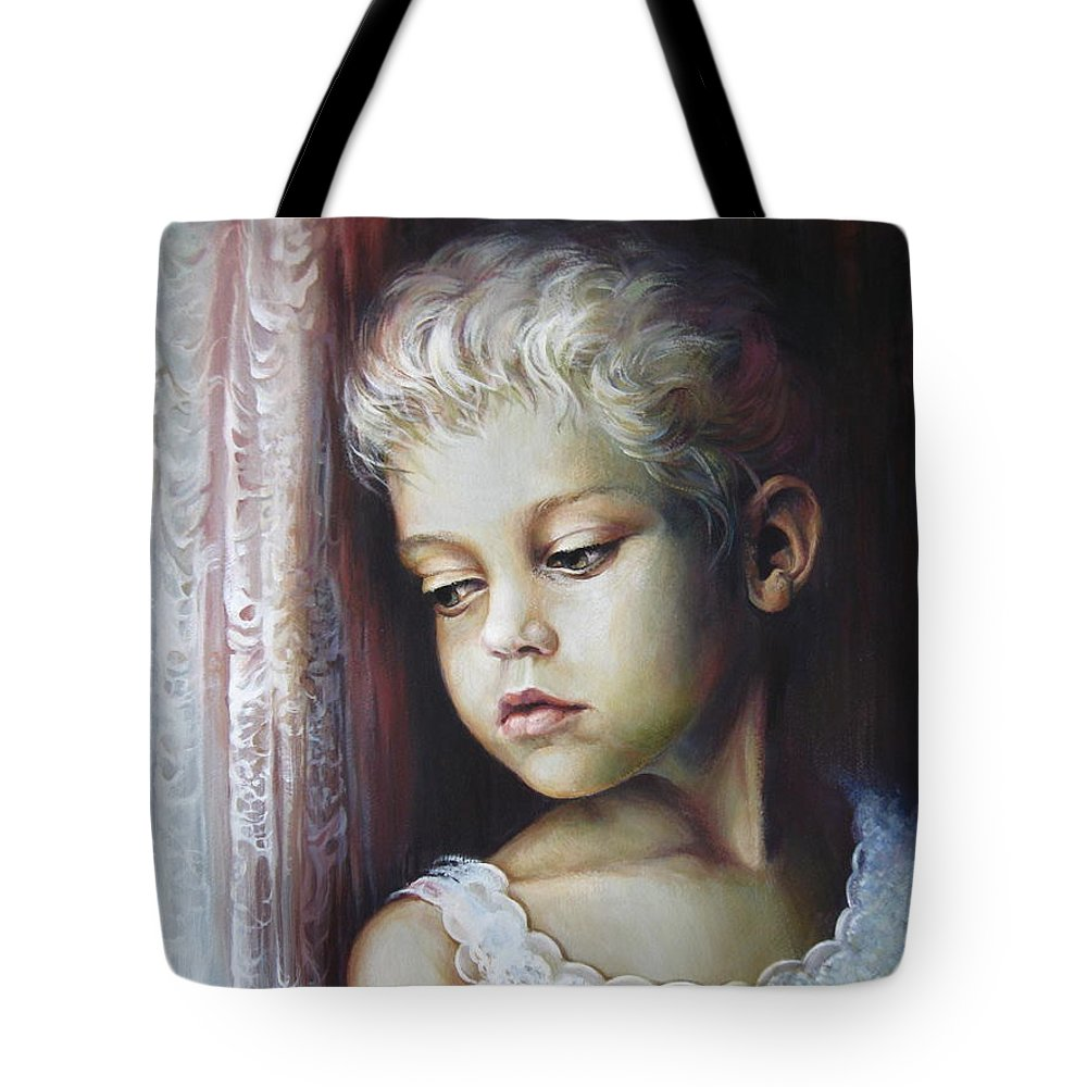 Child Tote Bag featuring the painting Waiting by Elena Oleniuc