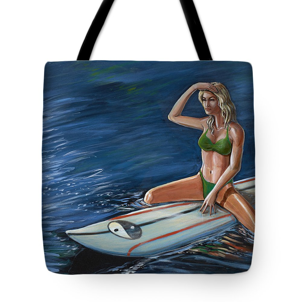 Surfer Tote Bag featuring the painting Waiting For A Set by Hank Wilhite
