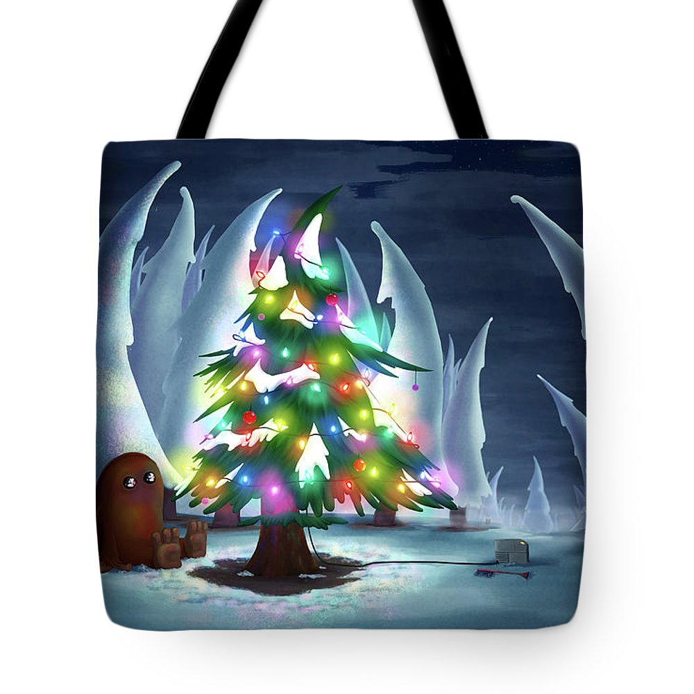 Christmas Tote Bag featuring the digital art Waiting For Christmas by Kelsey Hoefling