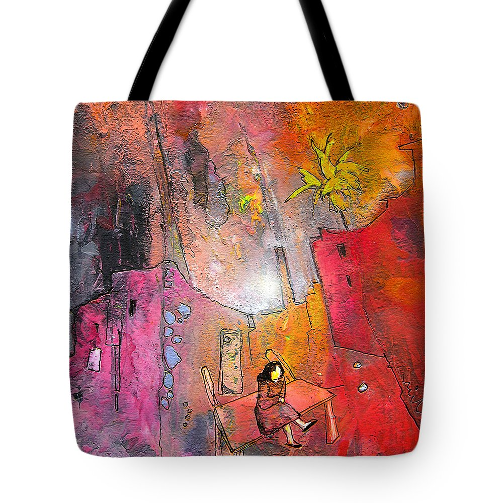 Acrylics Tote Bag featuring the painting Waiting For Godot by Miki De Goodaboom