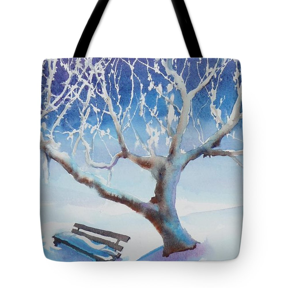 Snow Tote Bag featuring the painting Waiting For Spring by Ruth Kamenev