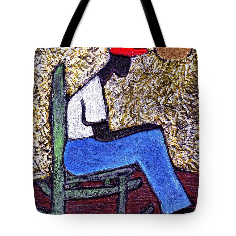 Black Art Tote Bag featuring the painting Waiting For The Dream by Wayne Potrafka
