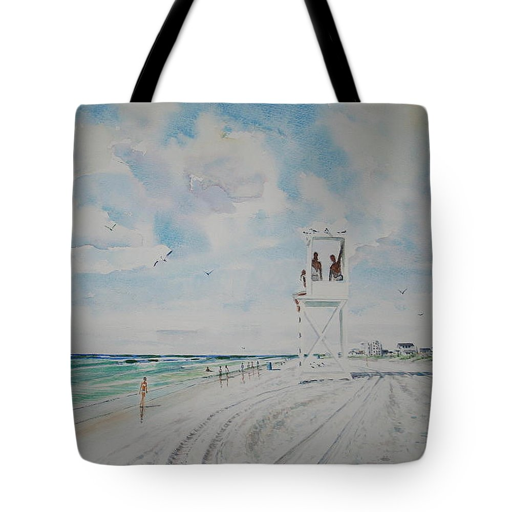 Ocean Tote Bag featuring the painting Waiting For The Lifeguard by Tom Harris