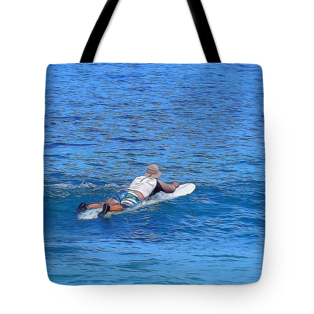 Perfect Tote Bag featuring the photograph Waiting For The Perfect Wave by Pamela Walton