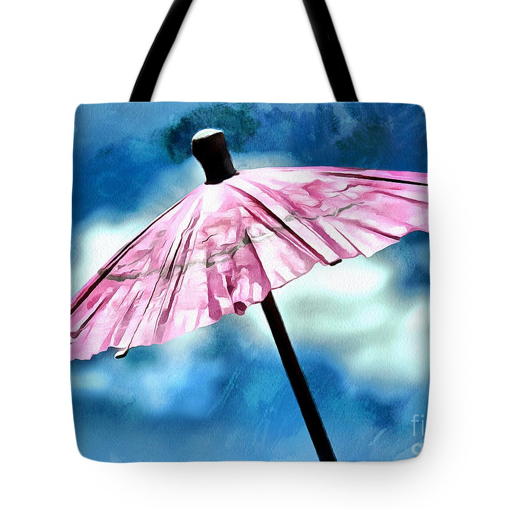 Umbrella Tote Bag featuring the photograph Waiting For The Sun by Krissy Katsimbras
