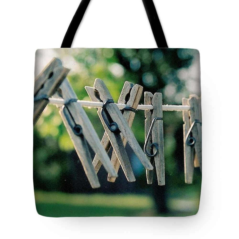 Clothes Pins Tote Bag featuring the photograph Waiting For Work by Lauri Novak