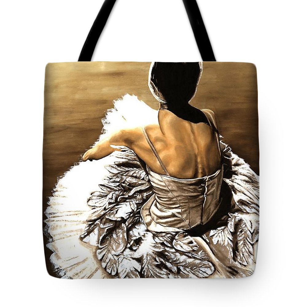 Ballet Tote Bag featuring the painting Waiting In The Wings by Richard Young