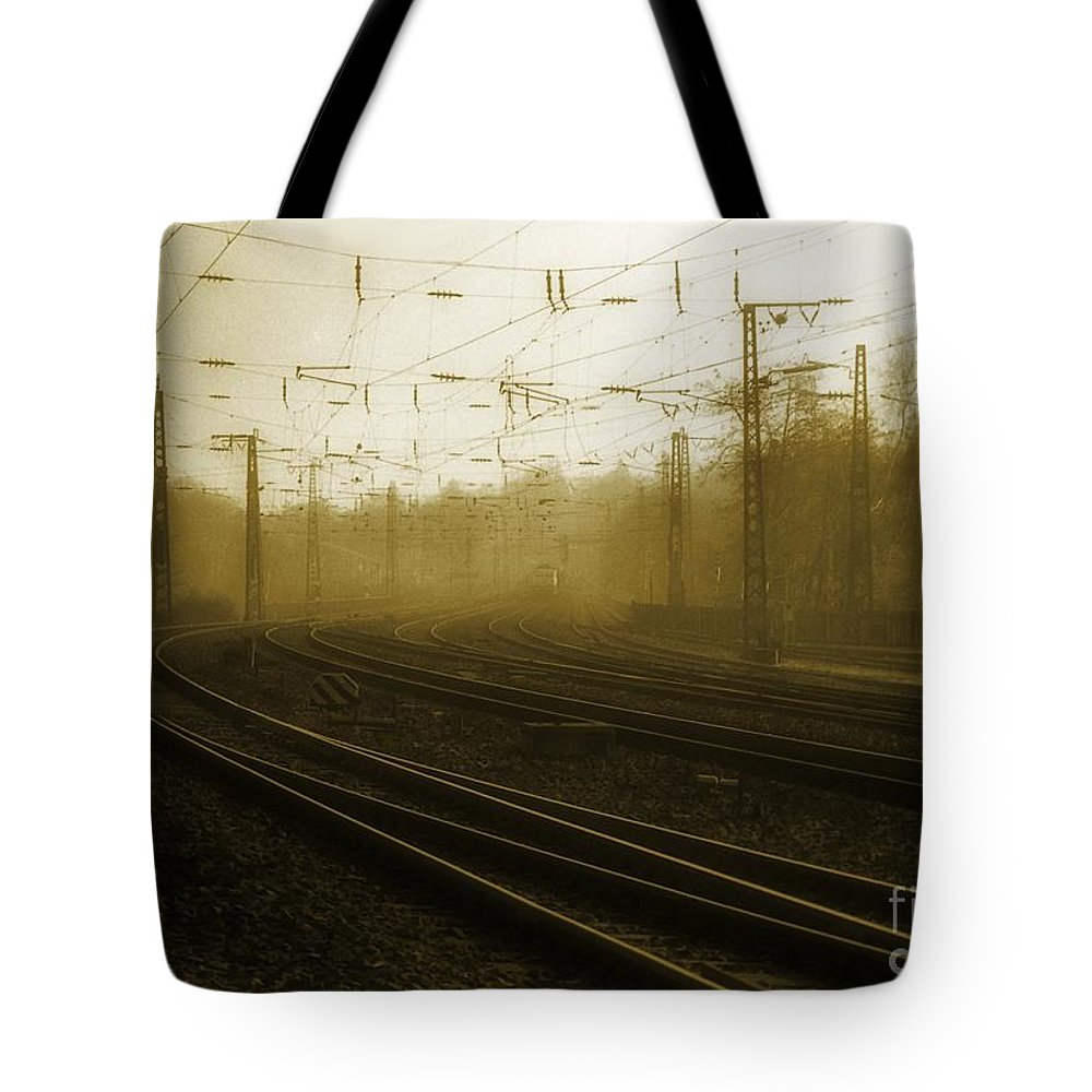 Train Tote Bag featuring the photograph Waiting by Jeff Breiman