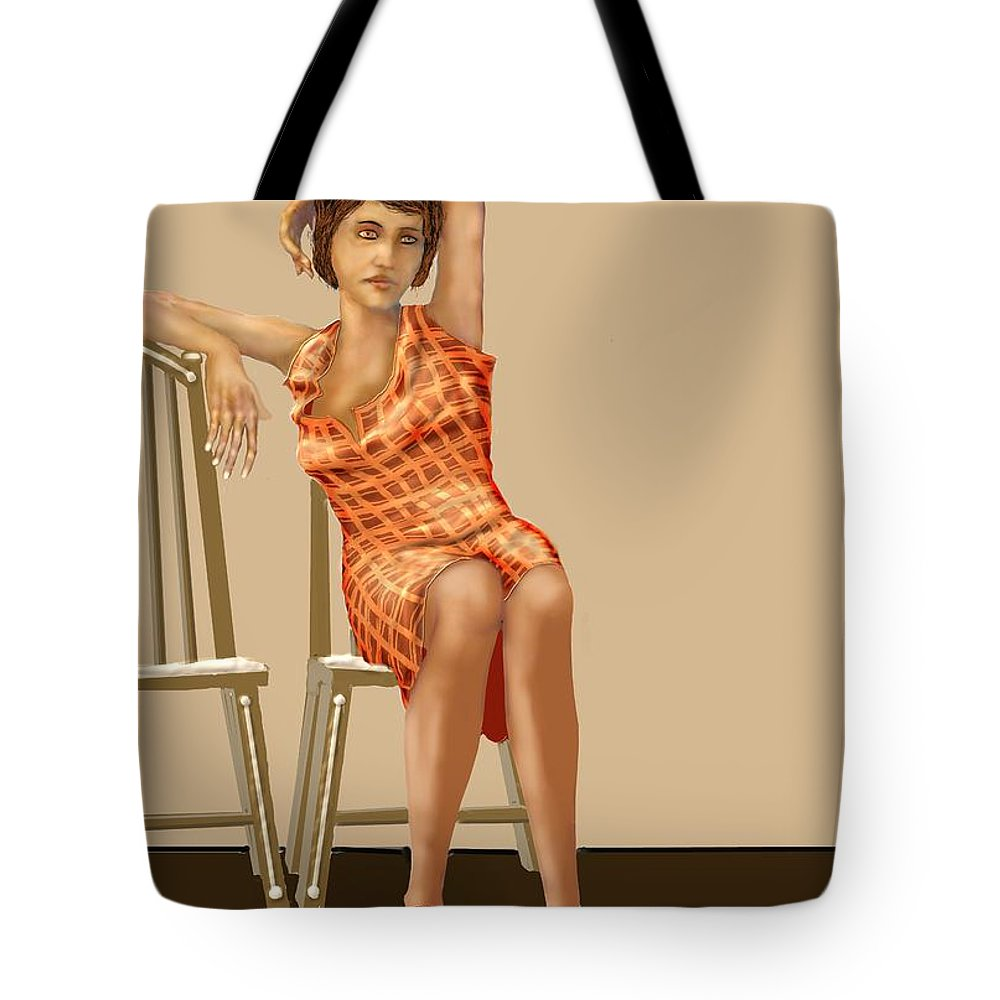 Waiting Tote Bag featuring the digital art Waiting by Kerry Beverly
