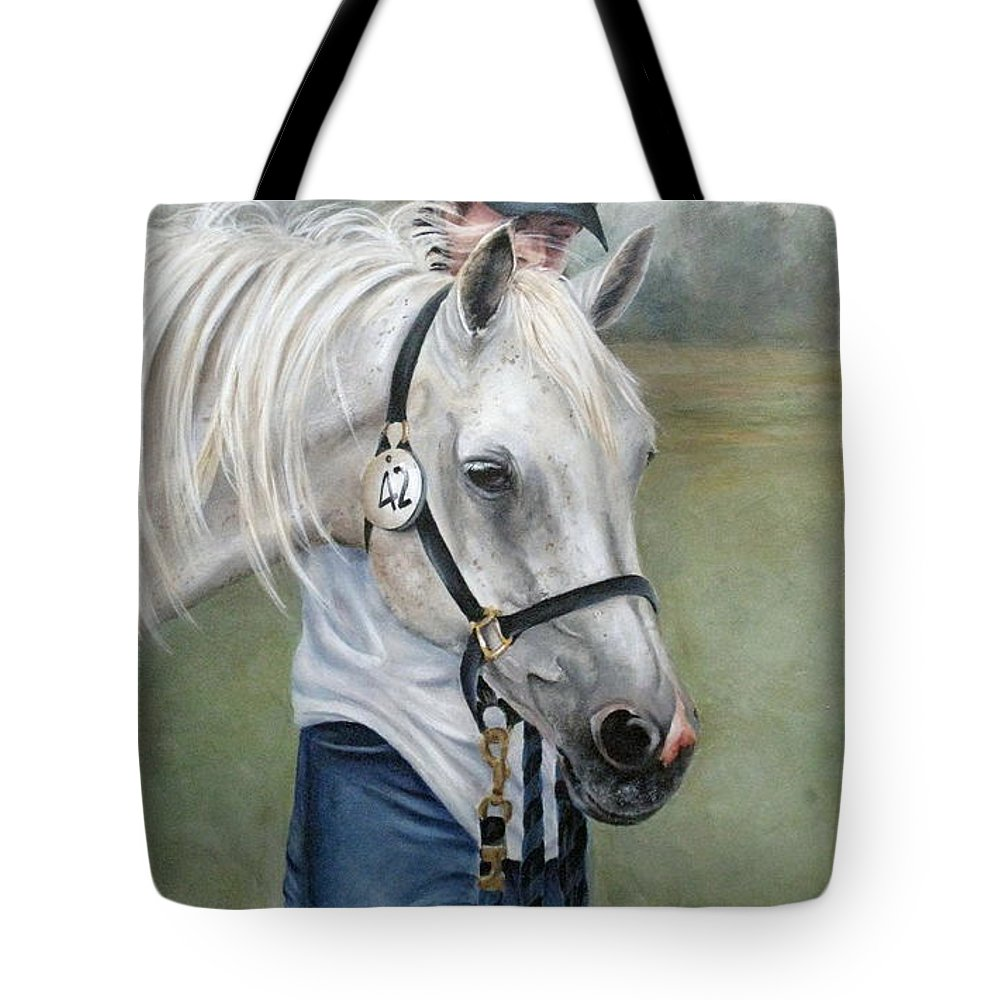 Horse Tote Bag featuring the painting Waiting by Mary McCullah