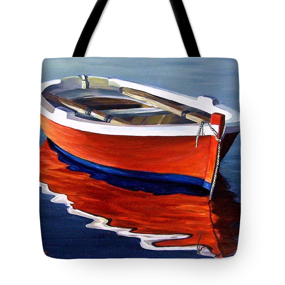 Seascape Water Boat Reflection Ocean Sea Tote Bag featuring the painting Waiting by Natalia Tejera