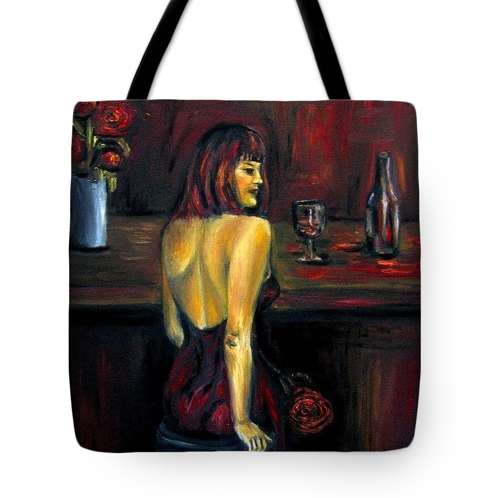 Woman Tote Bag featuring the painting Waiting... Oil Painting  by Natalja Picugina