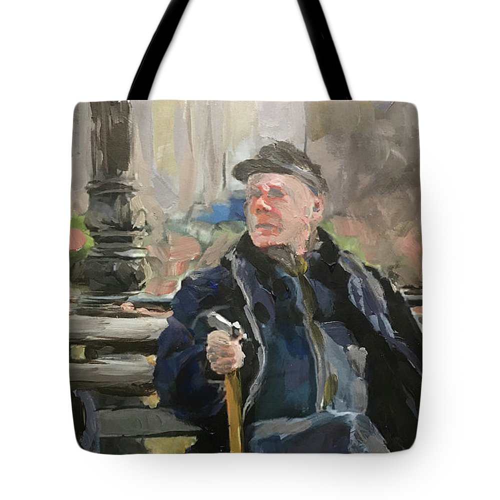 Tote Bag featuring the painting Waiting On The Bus by Steven Lester