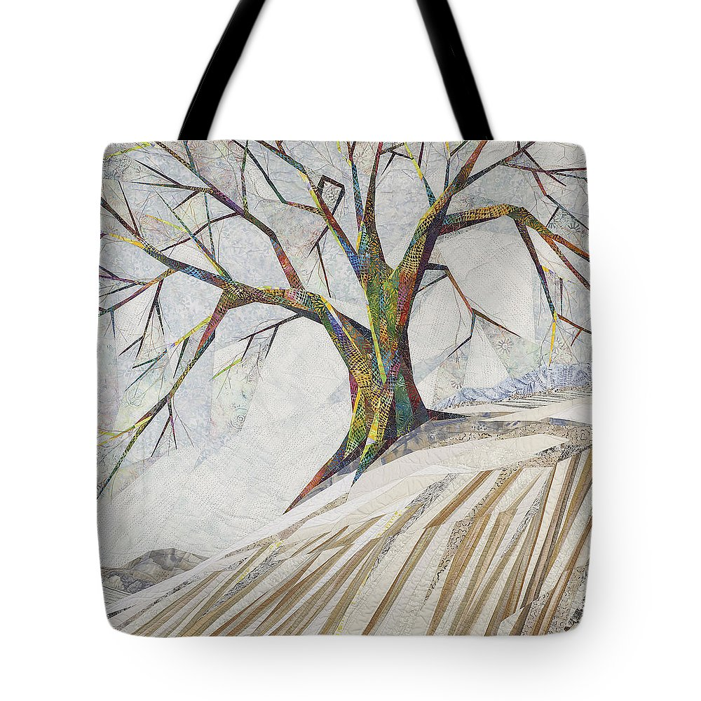 Landscape Tote Bag featuring the tapestry - textile Waiting Out Winter by Linda Beach