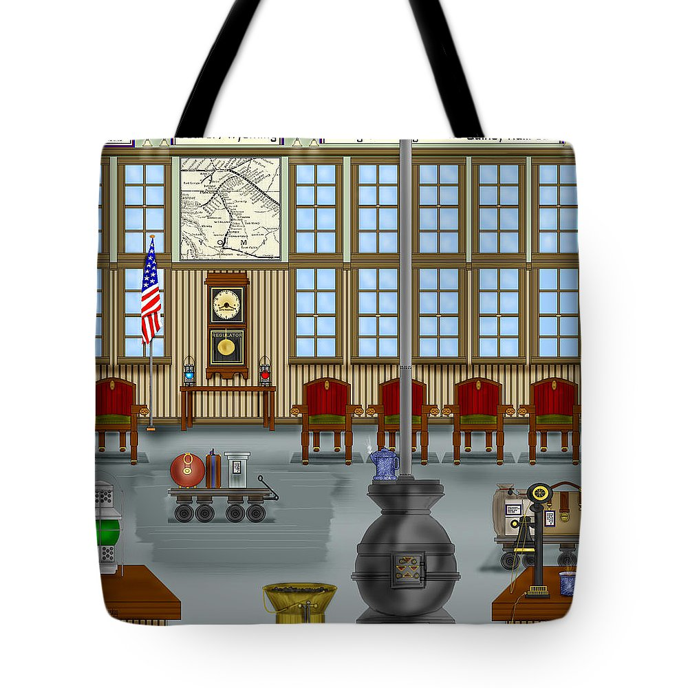 Realism Tote Bag featuring the painting Waiting Room At The Depot by Anne Norskog