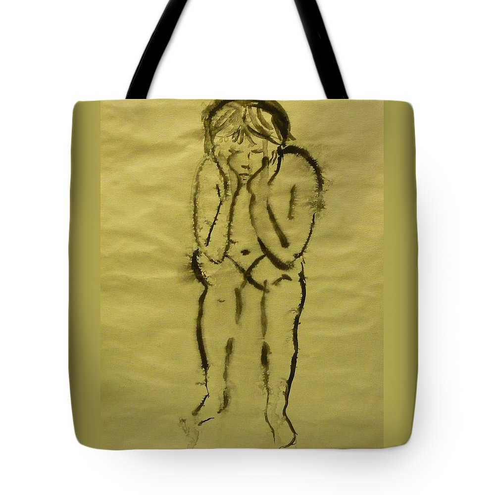 Figure Tote Bag featuring the painting Waiting by Tara Bennett