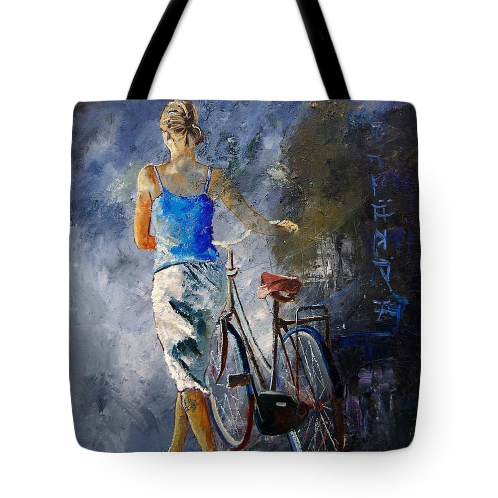 Girl Tote Bag featuring the painting Waking Aside Her Bike 68 by Pol Ledent