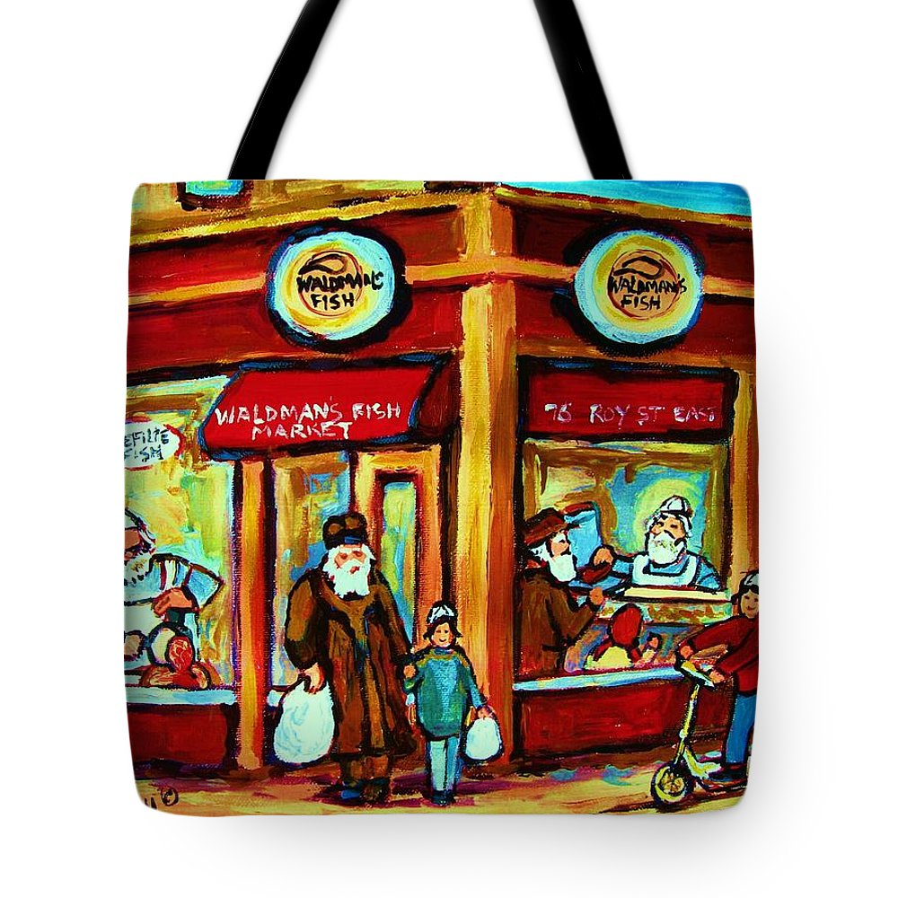 Montreal Tote Bag featuring the painting Waldmans In Montreal by Carole Spandau