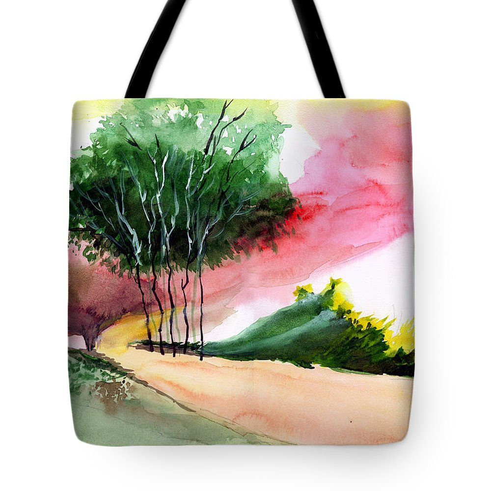 Watercolor Tote Bag featuring the painting Walk Away by Anil Nene