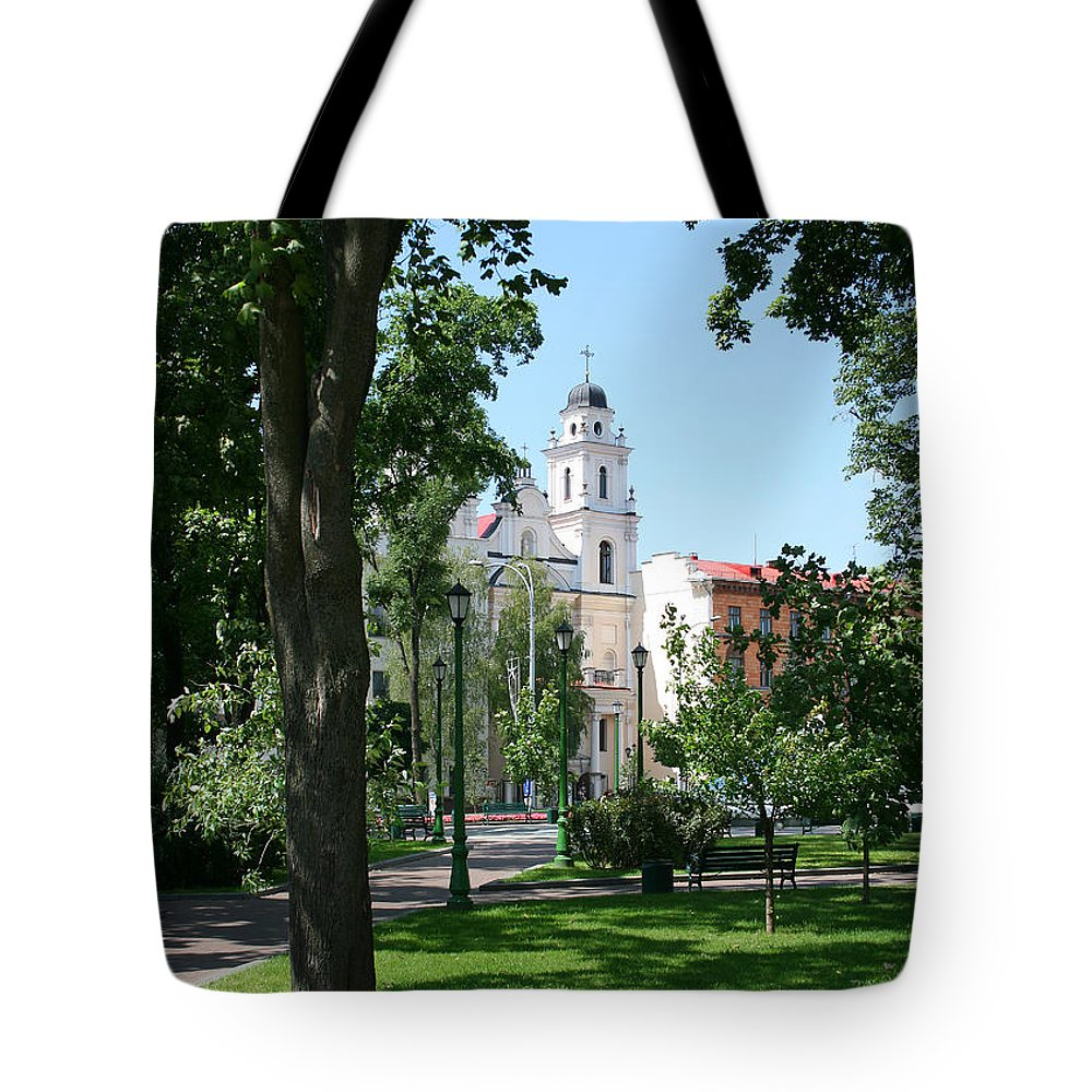 Park City Tree Trees Flowers Church Building Summer Blue Sky Green Walk Bench Tote Bag featuring the photograph Walk In The Park by Andrei Shliakhau