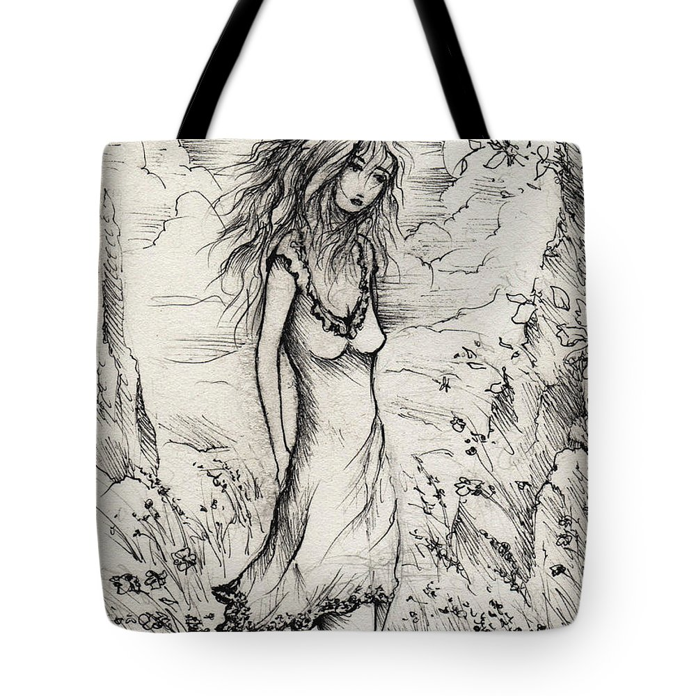 Woman Tote Bag featuring the drawing Walk In The Whispers by Rachel Christine Nowicki