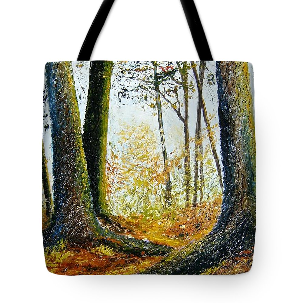 Landscape Tote Bag featuring the painting Walk In The Woods by Tami Booher