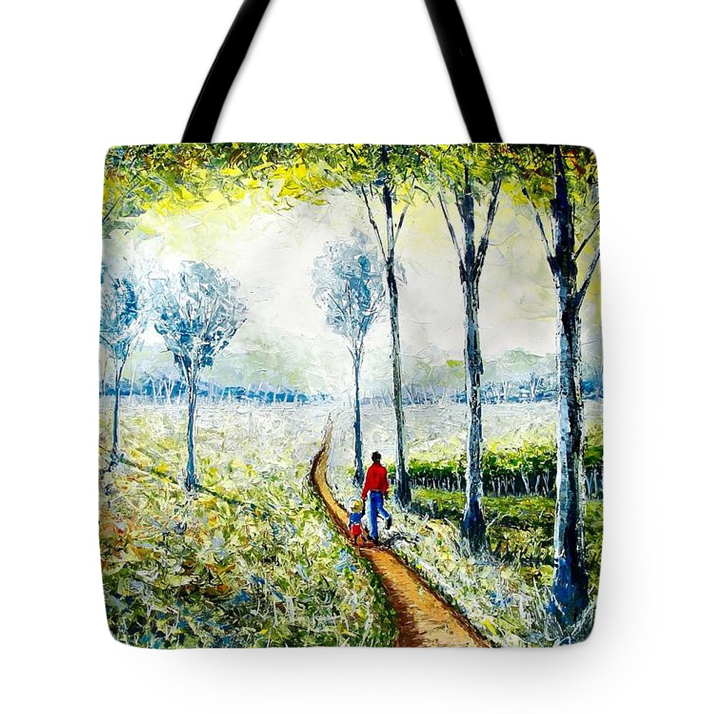 African Paintings Tote Bag featuring the painting Walk Into The World by Evans Yegon