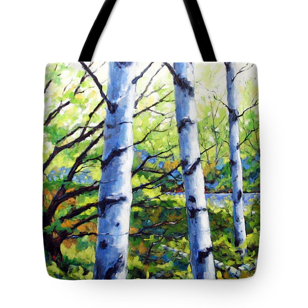 Lake Tote Bag featuring the painting Walk To The Lake by Richard T Pranke