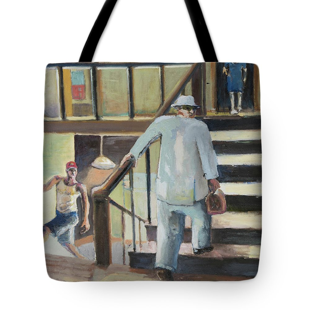 New York City Tote Bag featuring the painting Walk Up by Craig Newland
