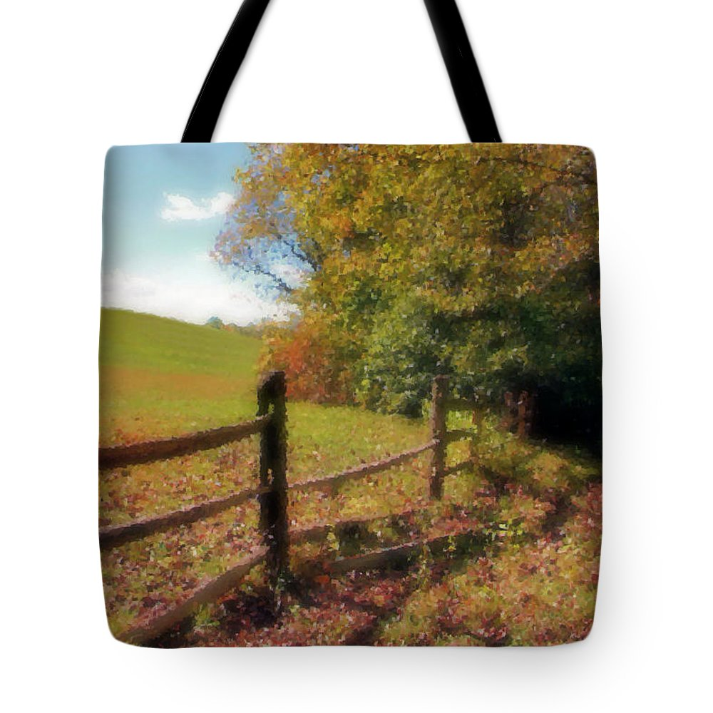 Hill Tote Bag featuring the digital art Walk With Me by Kristin Elmquist