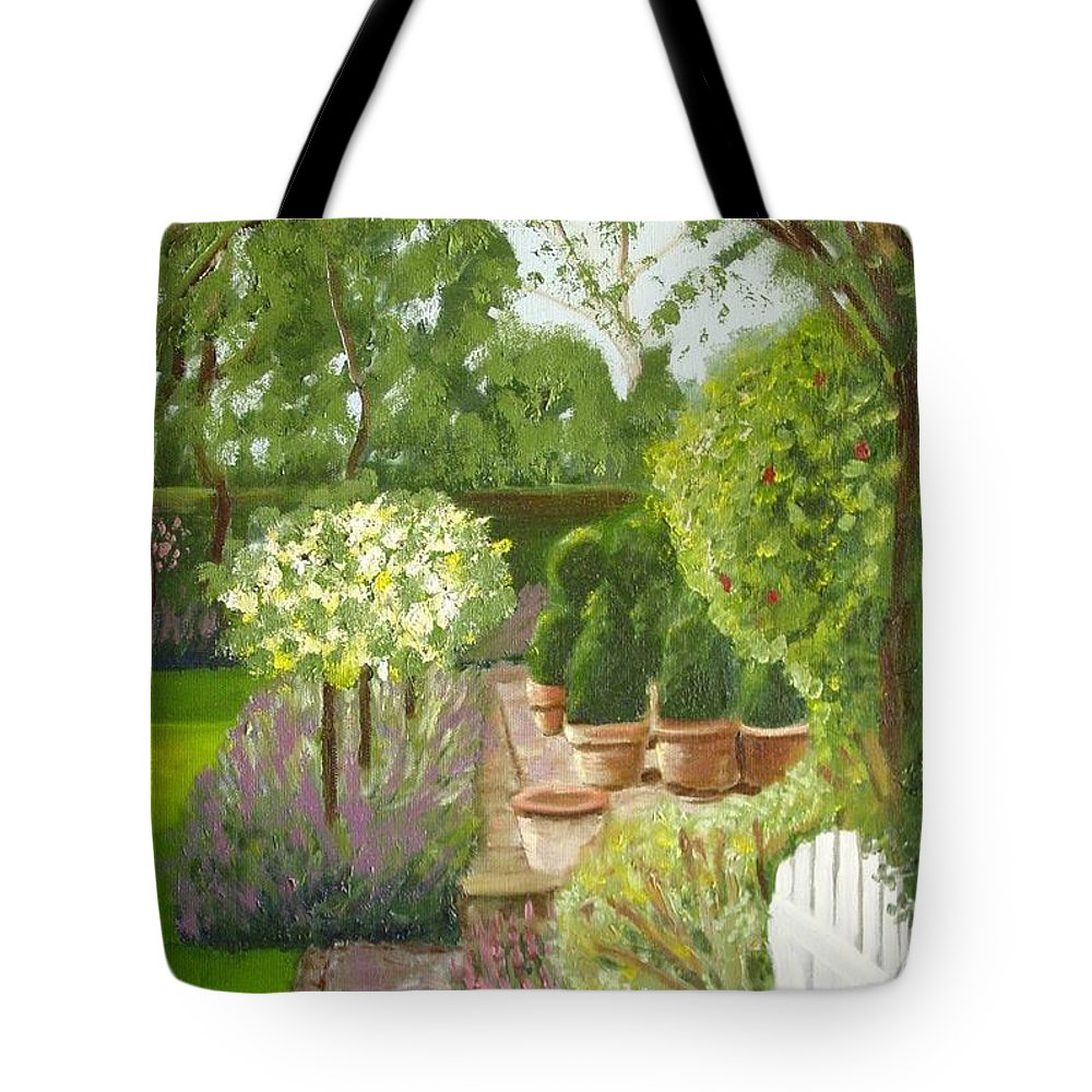 Garden Tote Bag featuring the painting Walk With Me by Laurie Morgan